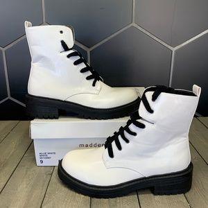 Womens Madden Girl Allie White Black High Boots